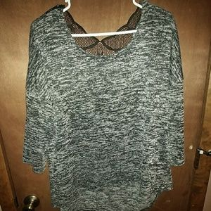 Marble knit sweater with lace back